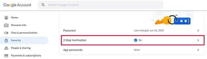 Google Account 2 Step Verification on Web