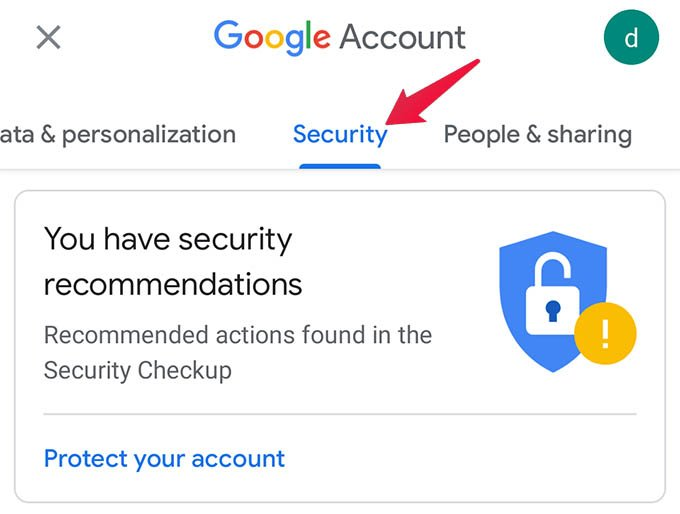 Google Account Security Options Android
