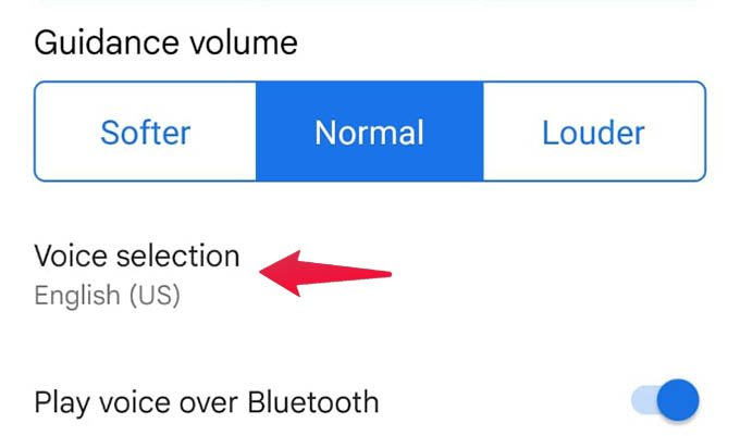 Google Maps Android Voice Selection