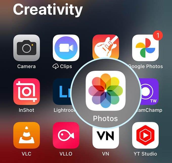 Open Photos App on iPhone