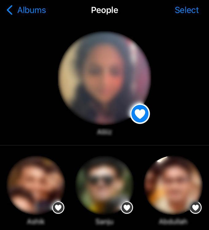 People Pinned to Top on iPhone Photos
