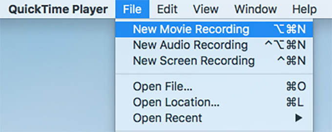 QuickTime New Movie Recording on Mac