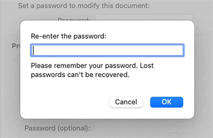 Re Enter Password to Password Protect Word Document in Mac