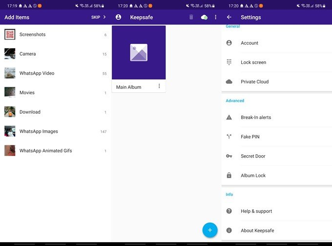 keepsafe options and settings on android