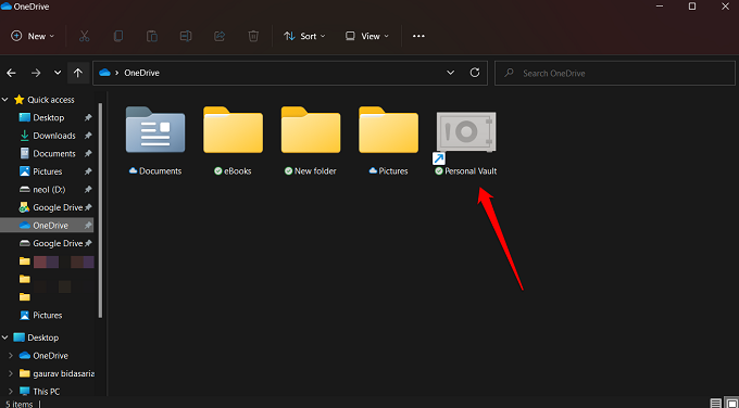 onedrive personal vault folder