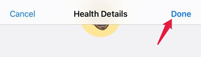 Save Health Details Edits on iPhone