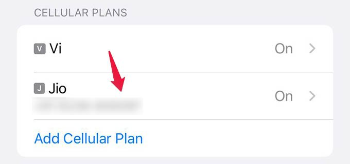 Select Cellular Plan on iPhone