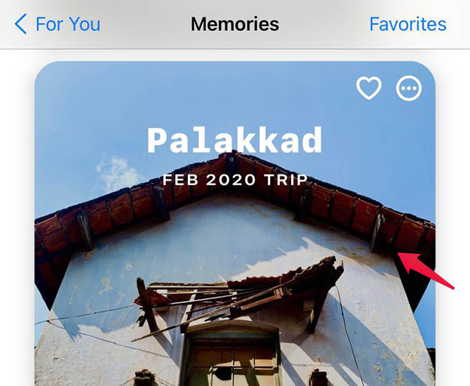 Select Photos Memory on iPhone