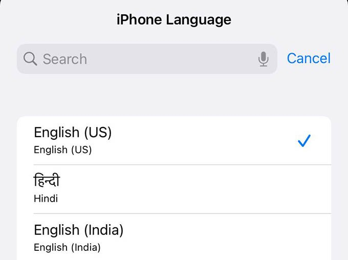 Select iPhone Language