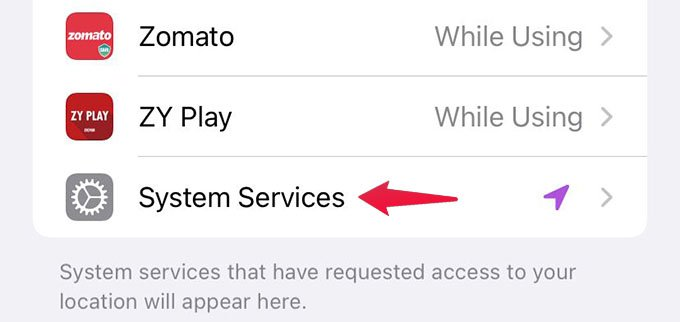 System Services Restrictions on iPhone