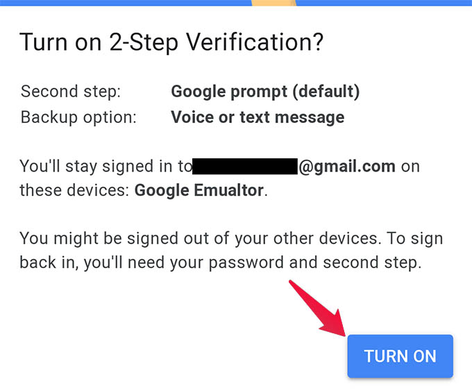 Turn On Two Step Verification in Google