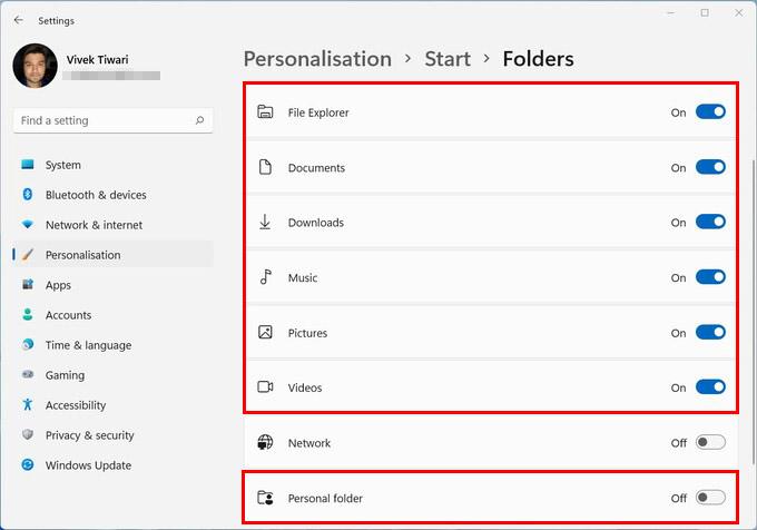 Start Menu Folders in Windows 11