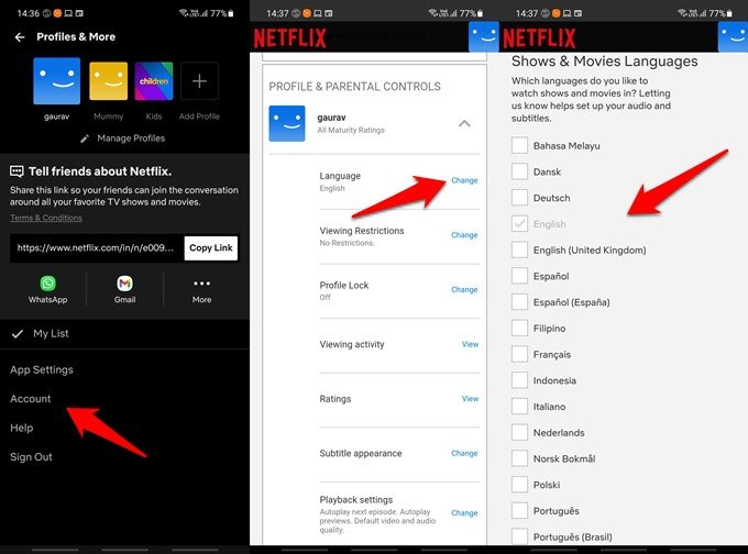 netflix movie and show language settings on mobile apps