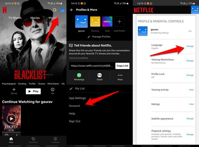 netflix display language settings on android and ios apps