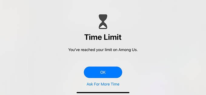 iPhone App Time Limit Reached