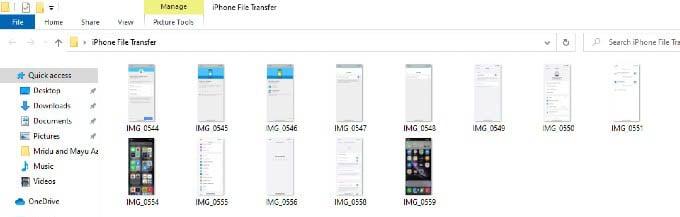 saved iPhone files on windows folder