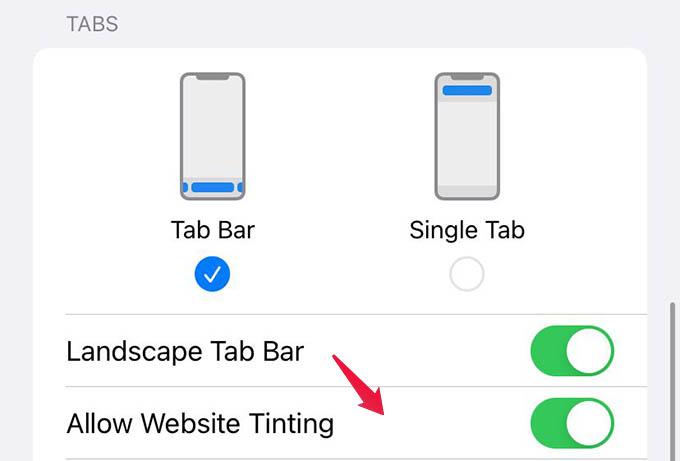 Allow Website Tinting in Safari Settings on iPhone