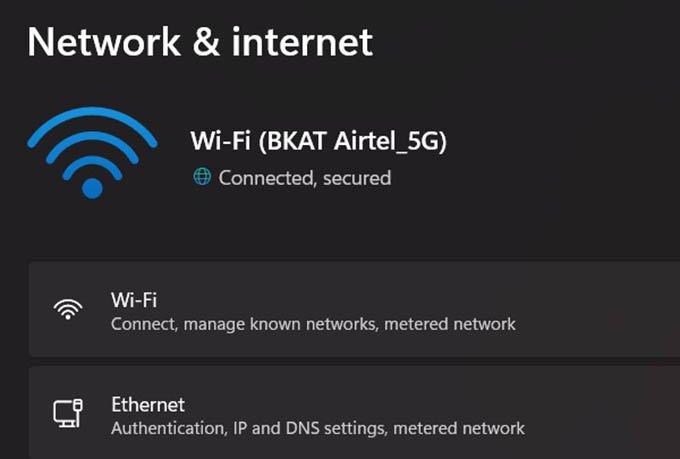 Check Network Name from Settings in Windows 11