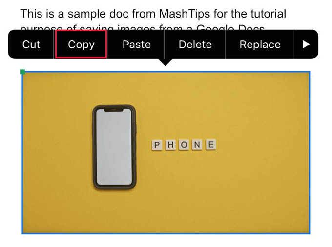 Copy Image from Google Docs in iPhone