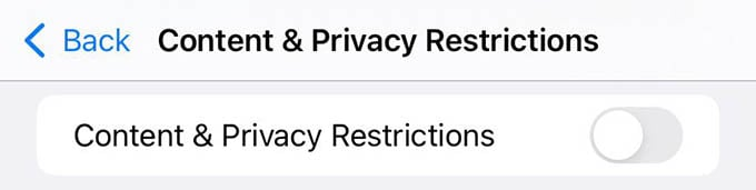 Disable Content and Privacy Restrictions on iPhone
