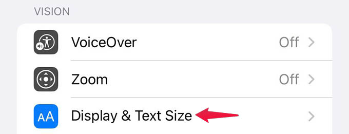 Display and Text Size in iPhone Accessibility Settings