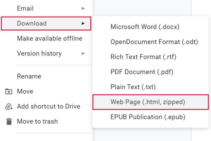 Download Google Docs as Webpage