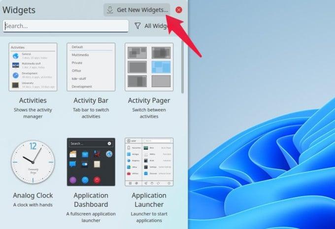 KDE Plasma Widgets Panel