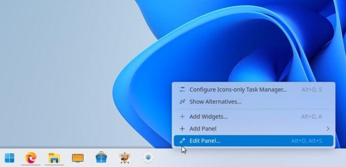 KDE Panel context menu