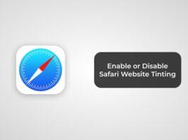 Enable or Disable Safari Website Tinting