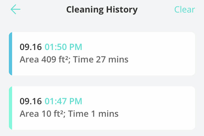 Eufy RoboVac Cleaning History