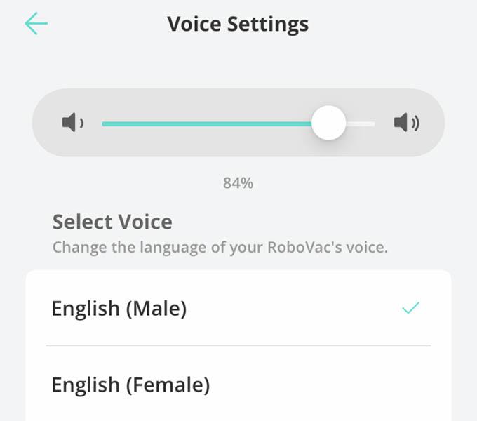 Eufy Robovac X8 Voice Alert Settings