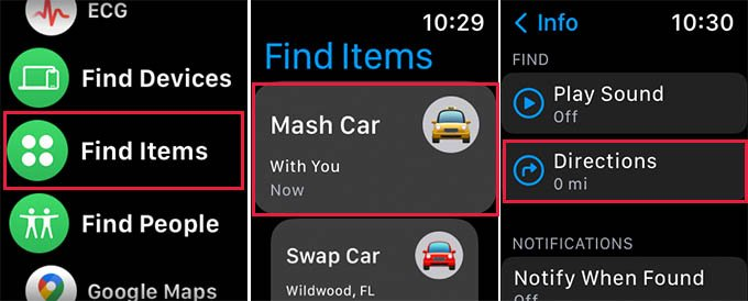 Find AirTag Directions on Apple Watch