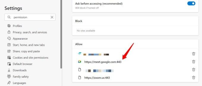 google web cam permissions