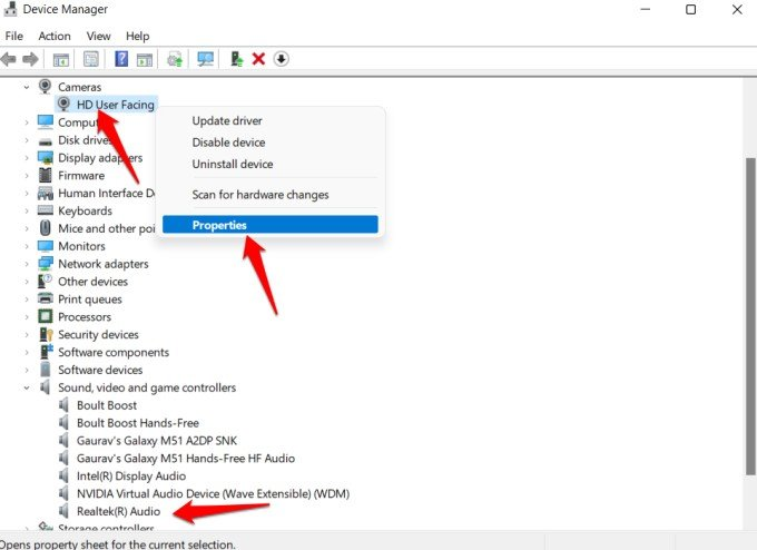 camera and mic properties in windows device manager