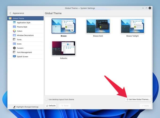 Get new themes on KDE Plasma