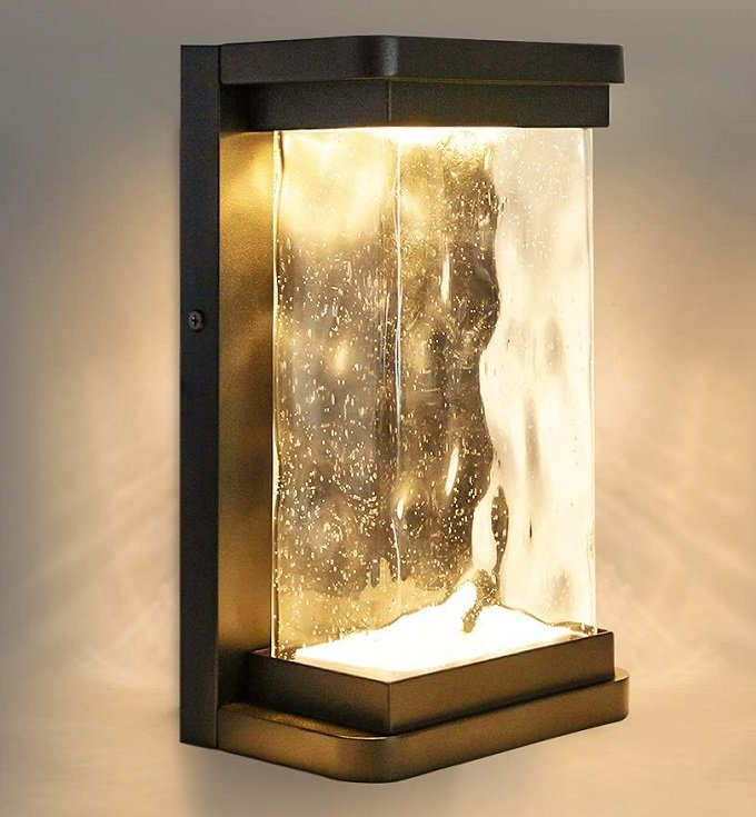 Lutec Wall Light With Seeded Glass