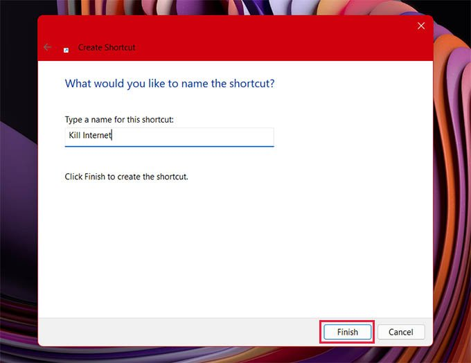 Name the Shortcut in Windows 11