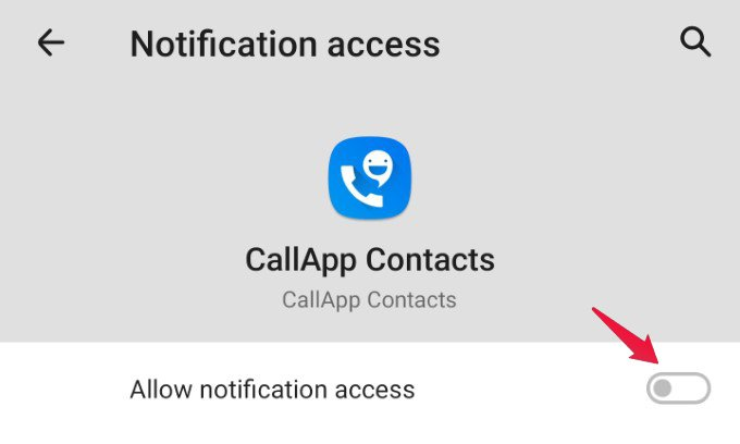 Android notification access toggle