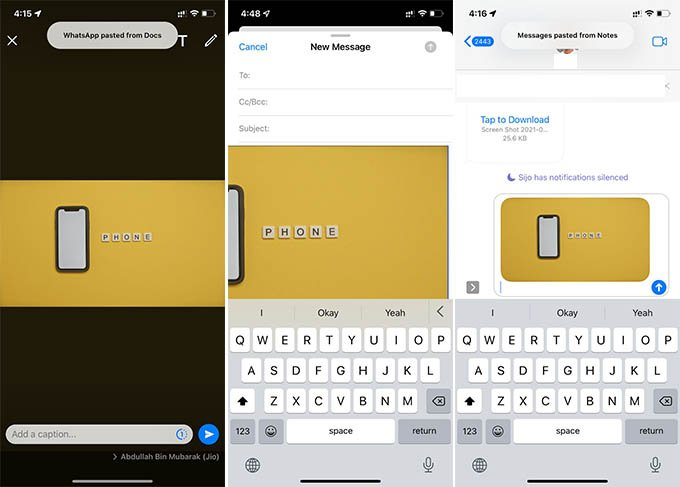Paste Google Docs Image in WhatsApp Mail and iMessage on iPhone