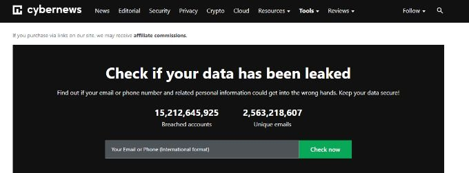 Personal Data leak check by Cybernews