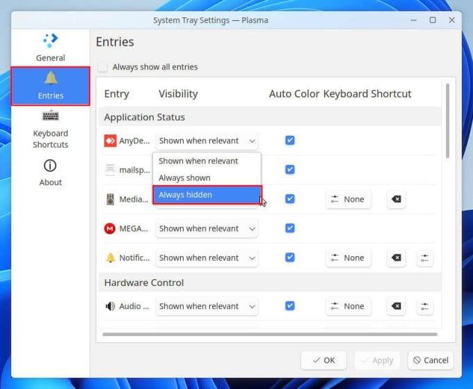KDE System Tray Configuration