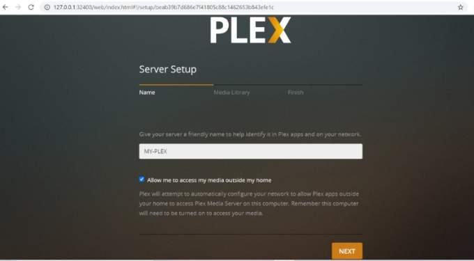 Plex Server Set Up Screen