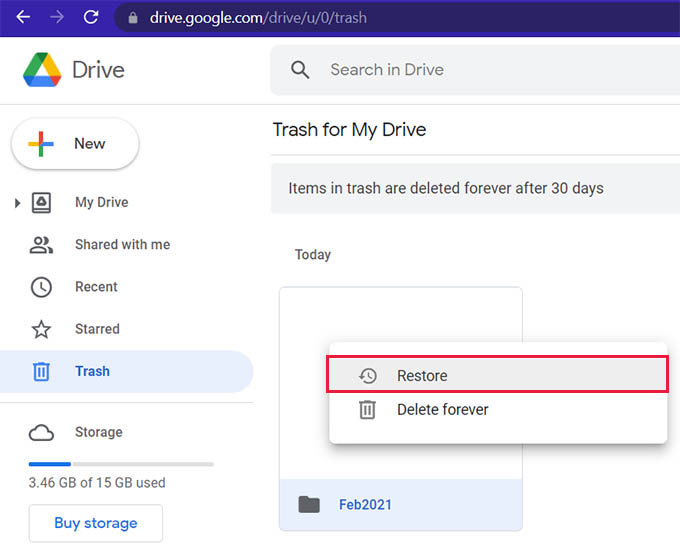 Restore Deleted Files in Google Drive