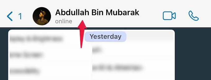Select Contact Name on WhatsApp