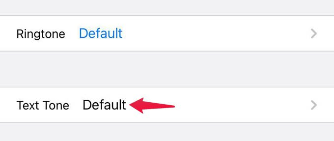 Select Custom Text Tone Option from Contacts on iPhone