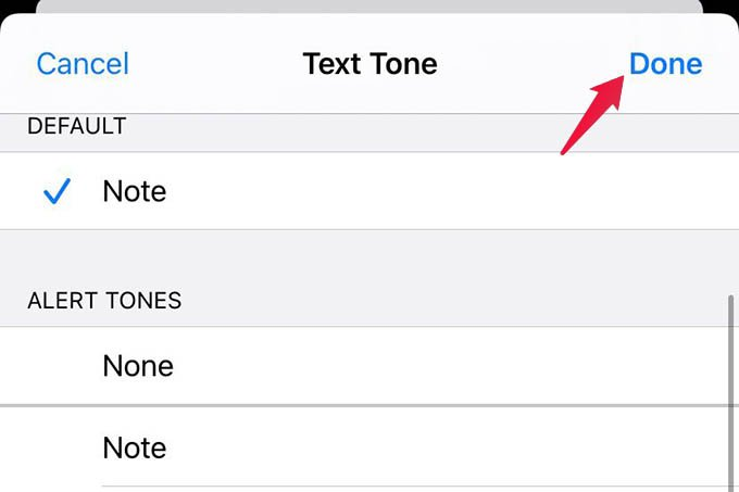 Select Custom Text Tone from Contacts on iPhone