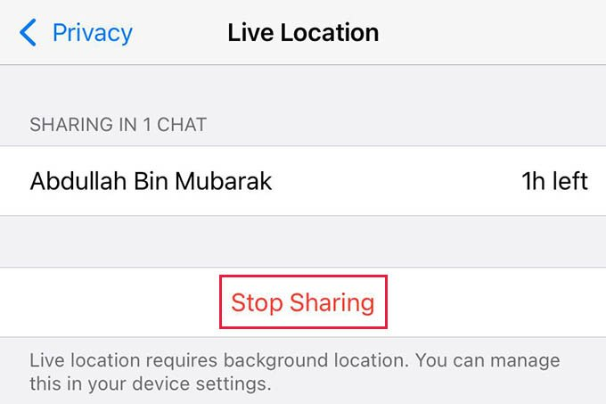 Stop Live Location Sharing in WhatsApp