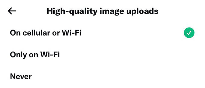 Upload 4K Images in Twitter Iver WiFi and Cellular Data
