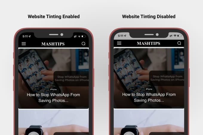 Website Tinting Enabled and Disabled on iPhone