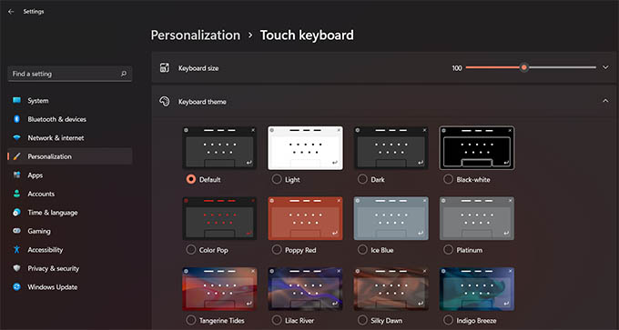 Windows 11 Touch Keyboard Themes